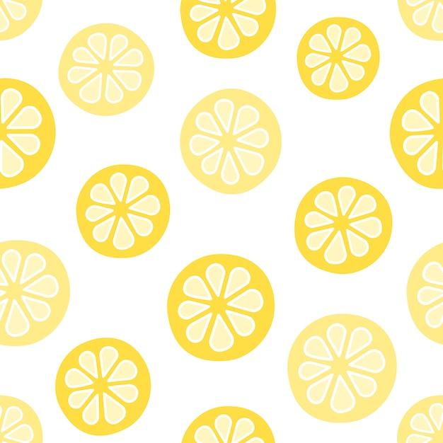 Modèle sans couture de vecteur avec des citrons. style de bande dessinée Vecteur Premium