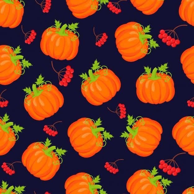 Modèle sans couture de vecteur de citrouilles orange. Vecteur Premium
