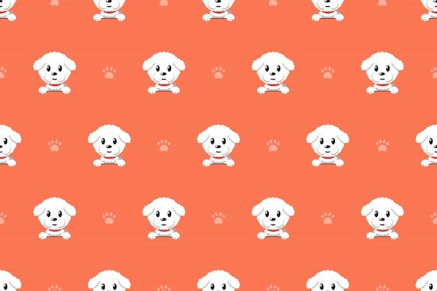Modèle sans couture de vecteur dessin animé personnage bichon frise chien Vecteur Premium