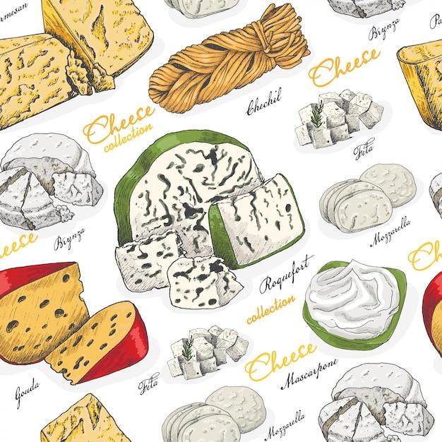 Modèle sans couture de vecteur avec différents fromages Vecteur Premium