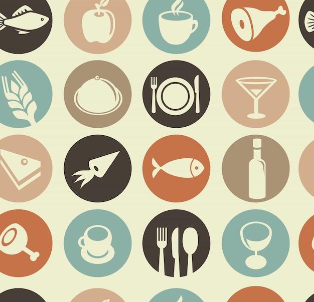 Modèle sans couture de vecteur avec des éléments de restaurant et de nourriture Vecteur Premium