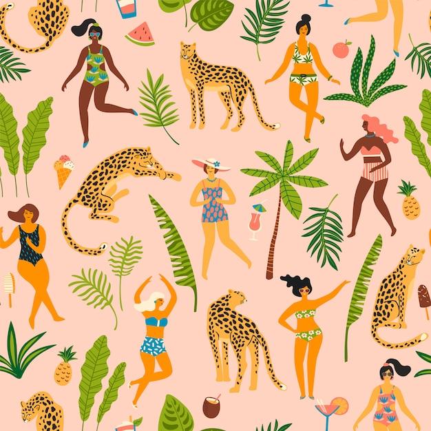 Modèle sans couture de vecteur avec les femmes et les léopards. Vecteur Premium