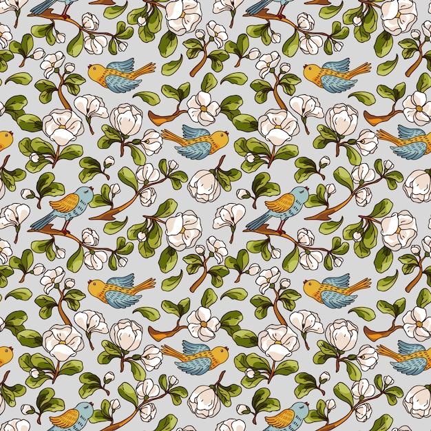 Modèle sans couture de vecteur à la fleur de pommier et les oiseaux. texture dessiné à la main belle. Vecteur Premium