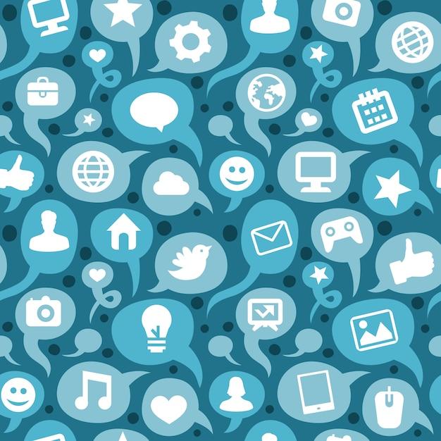 Modèle sans couture de vecteur avec des icônes de médias sociaux Vecteur Premium