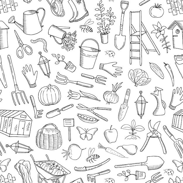 Modèle sans couture de vecteur jardinage doodle Vecteur Premium
