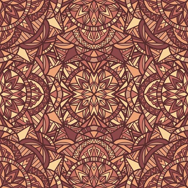 Modèle sans couture de vecteur mandala. ornement tribal. Vecteur Premium