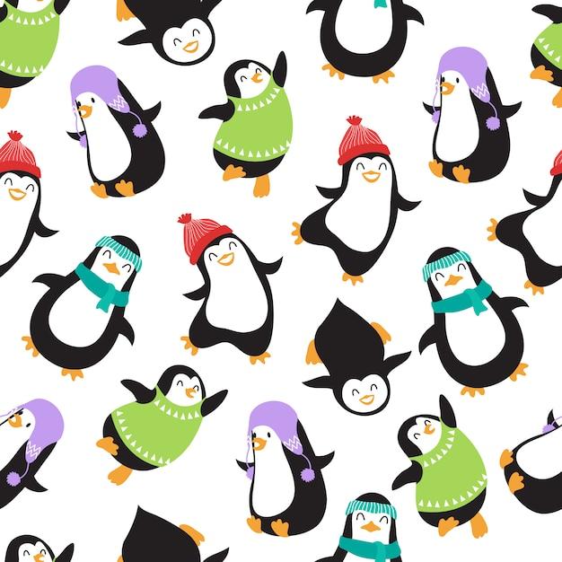 Modèle sans couture de vecteur mignon noël pingouins Vecteur Premium