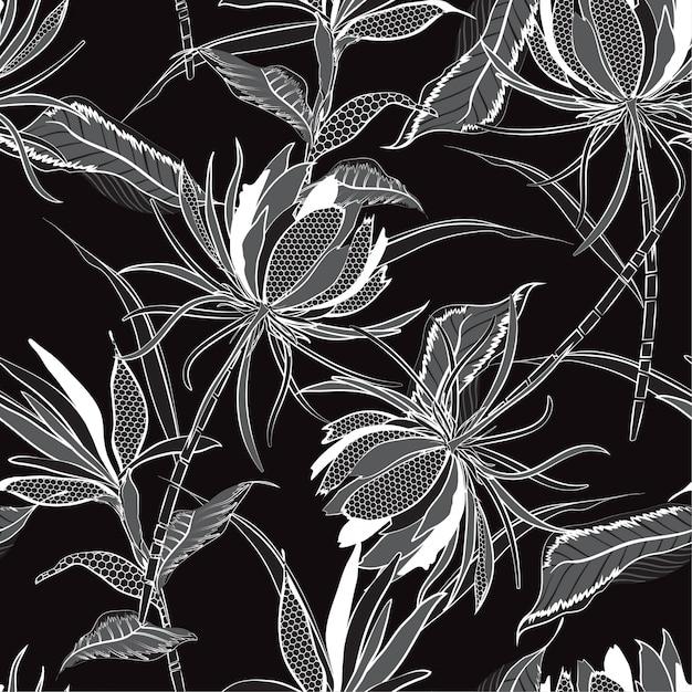 Modèle sans couture de vecteur monotone noir et blanc de fleurs Vecteur Premium