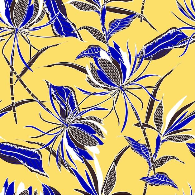 Modèle sans couture de vecteur de motif de fleurs et feuilles Vecteur Premium