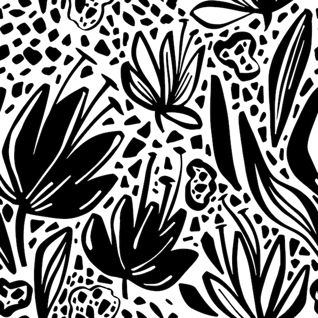 Modèle sans couture de vecteur avec motif floral minimaliste. Vecteur Premium