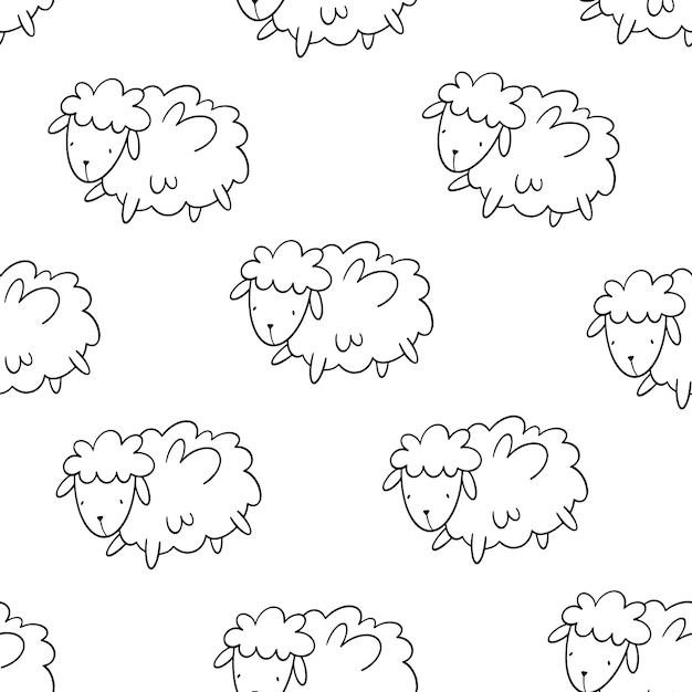 Modèle sans couture de vecteur avec des moutons. Vecteur Premium