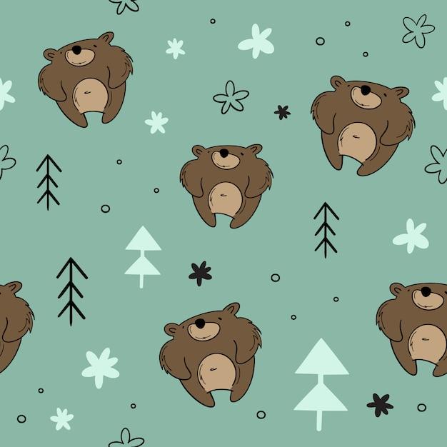 Modèle sans couture de vecteur, ours dans la forêt, épinette. dessinés à la main, dessin animé, styles scandinaves Vecteur Premium
