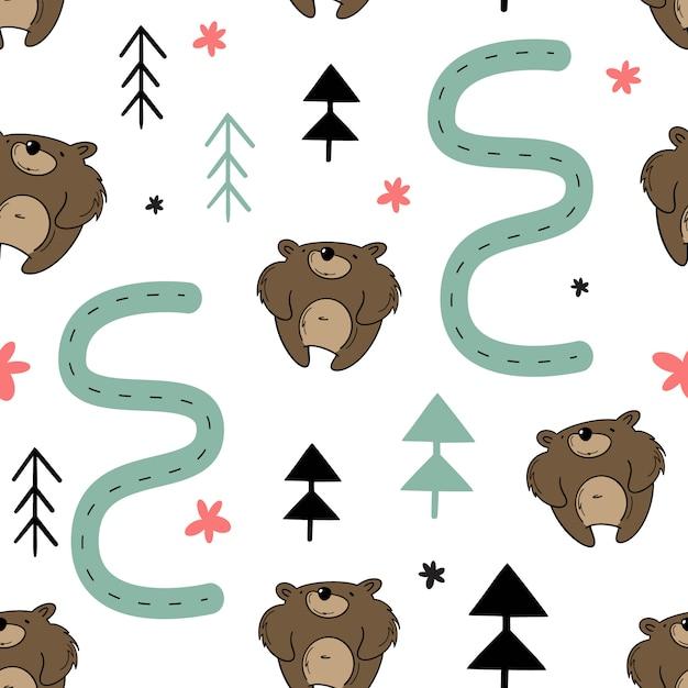 Modèle sans couture de vecteur, ours dans la forêt. Vecteur Premium