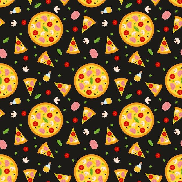 Modèle sans couture de vecteur avec pizza. pour les fonds d'écran, le papier d'emballage, les cartes et les illustrations web. Vecteur Premium