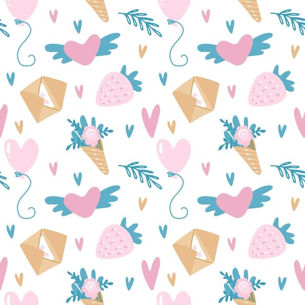 Modèle Sans Couture De Vecteur Pour La Saint-valentin Dans Des Couleurs Roses Et Turquoises Avec Des Enveloppes, Des Fraises, Des Ballons Et Des Fleurs. Vecteur Premium