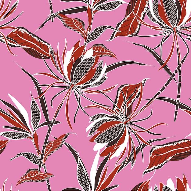 Modèle sans couture de vecteur rétro du motif de fleurs exotiques Vecteur Premium