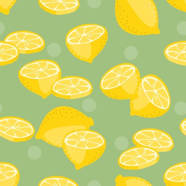 Modèle sans couture de vecteur de tranche de citron. Vecteur Premium