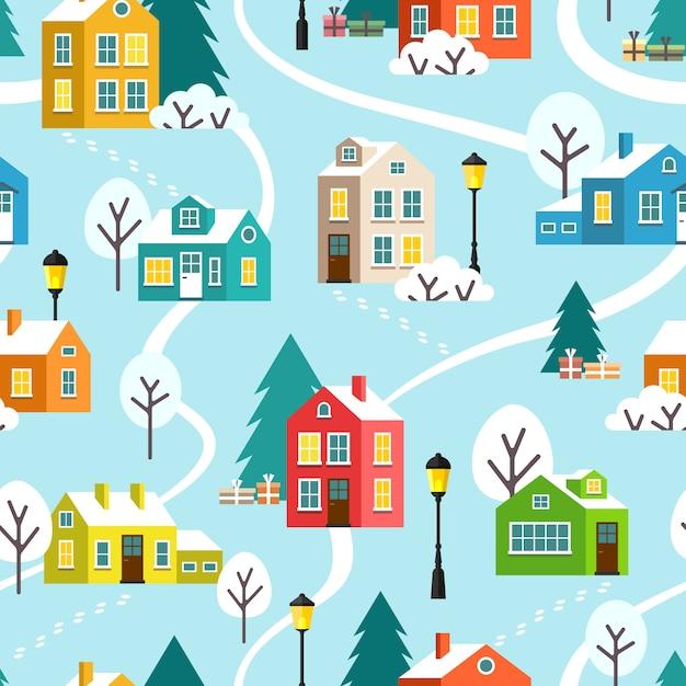 Modèle sans couture de vecteur ville ou village d'hiver Vecteur Premium