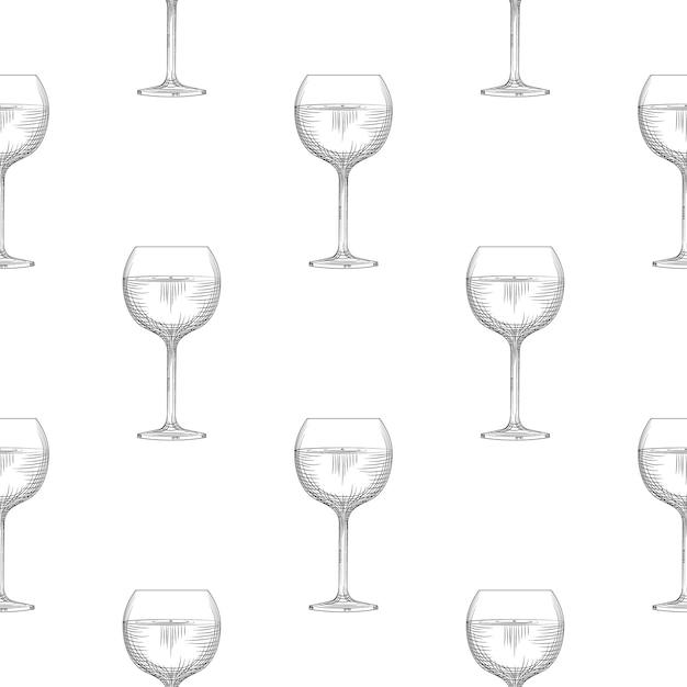 Modèle Sans Couture De Verrerie De Vin Sur Fond Blanc. Vecteur Premium