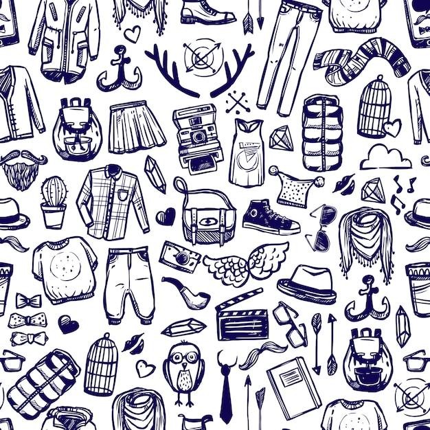 Modèle sans couture de vêtements de mode hipster doodle Vecteur gratuit