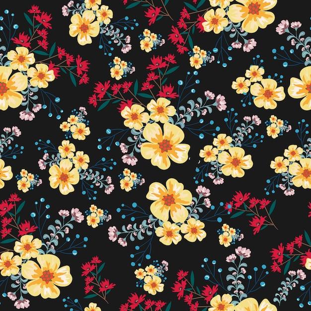Modèle sans couture vintage fleur jaune et rouge Vecteur Premium