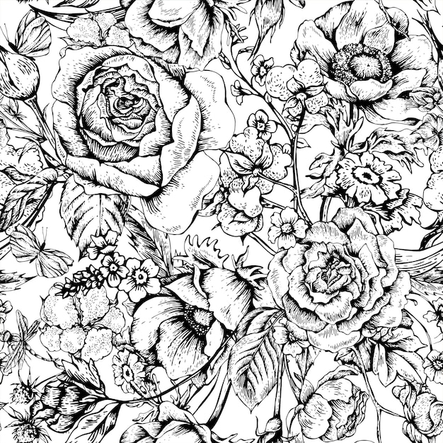 Modèle sans couture vintage floral vector avec roses Vecteur Premium