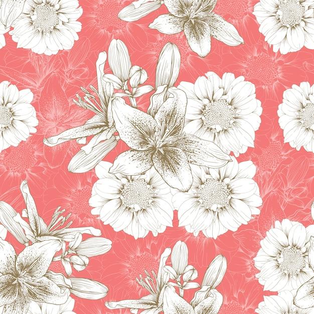 Modèle sans couture vintage lilly et zinnia fleurs abstrait. Vecteur Premium