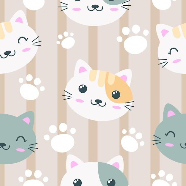 Modèle sans couture visage adorable chat Vecteur Premium