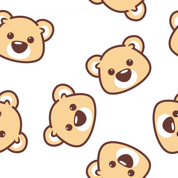 Modèle sans couture visage ours mignon Vecteur Premium
