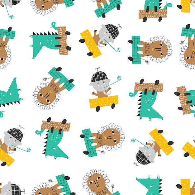 Modèle Sans Couture Avec Des Voitures Mignonnes, Lion, éléphant Et Alligator. Vecteur Premium