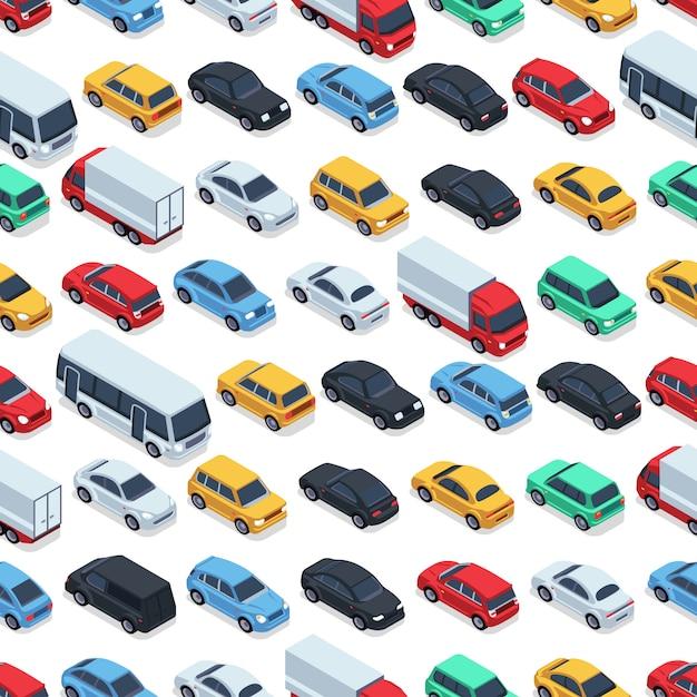 Modèle sans couture de voitures urbaines. voitures isométriques. illustration de voiture couleur modèle sans couture Vecteur Premium
