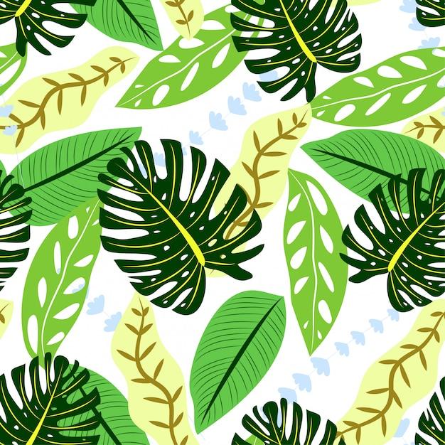 Modèle sans soudure coloré avec des feuilles tropicales vertes Vecteur Premium
