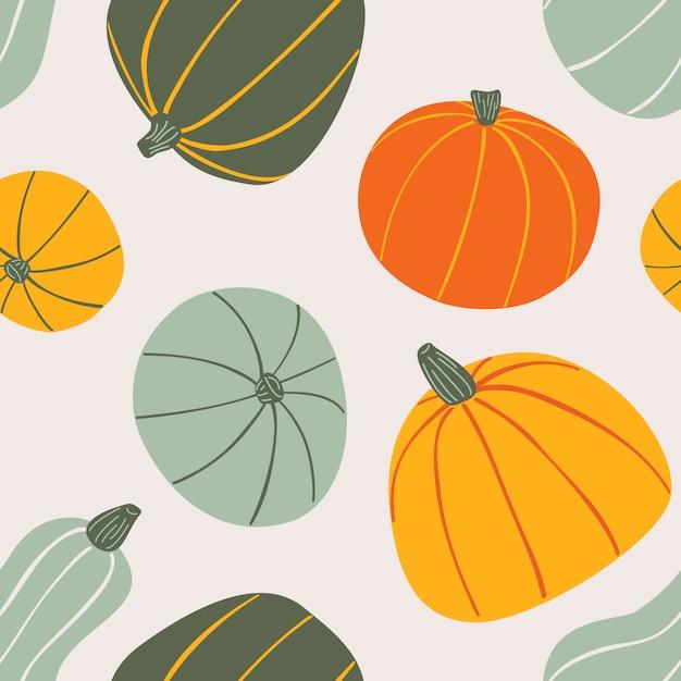 Modèle sans soudure dessiné de main de nourriture. citrouilles colorées stylisées sur fond clair. Vecteur Premium