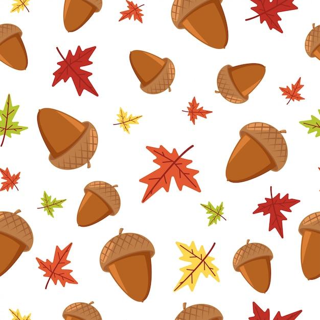 Modèle sans soudure de feuille automne gland et érable sur blanc pour le papier peint, l'emballage, l'emballage et la toile de fond. Vecteur Premium
