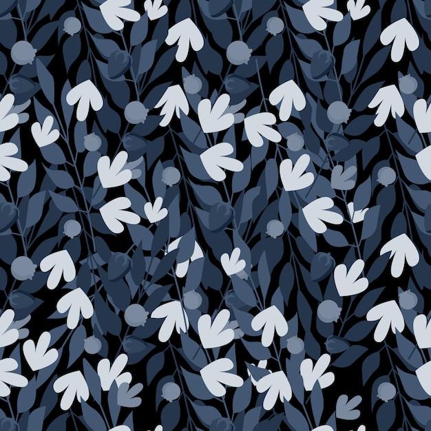 Modèle sans soudure de feuilles à base de plantes bleues Vecteur Premium