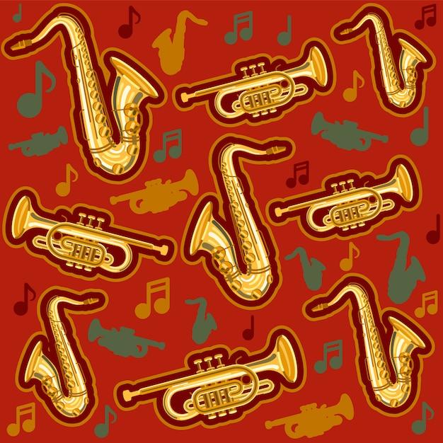 Modèle de saxophone et cornet d'instruments de musique Vecteur Premium