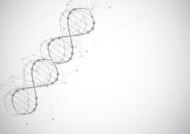 Modèle Scientifique, Papier Peint Ou Bannière Avec Des Molécules D'adn. Vecteur Premium