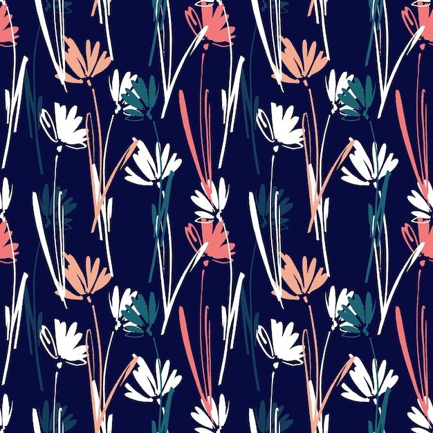 Modèle seamless vector avec main dessinant des fleurs, des herbes et des plantes sauvages. Vecteur Premium