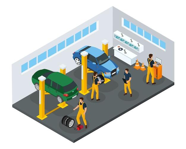 Modèle De Service De Réparation De Voiture Isométrique Avec Des Travailleurs Professionnels En Uniforme De Changement De Pneus Dans Un Garage Isolé Vecteur gratuit