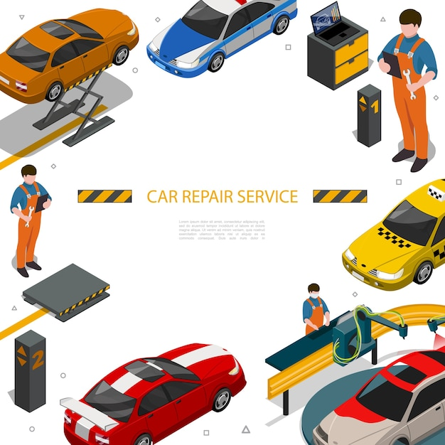 Modèle De Service De Réparation De Voiture Isométrique Vecteur gratuit