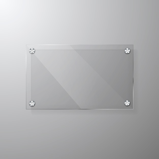 Modèle De Signalisation Glassy Moderne De Vecteur Avec Un Espace Pour Le Message. Vecteur Premium