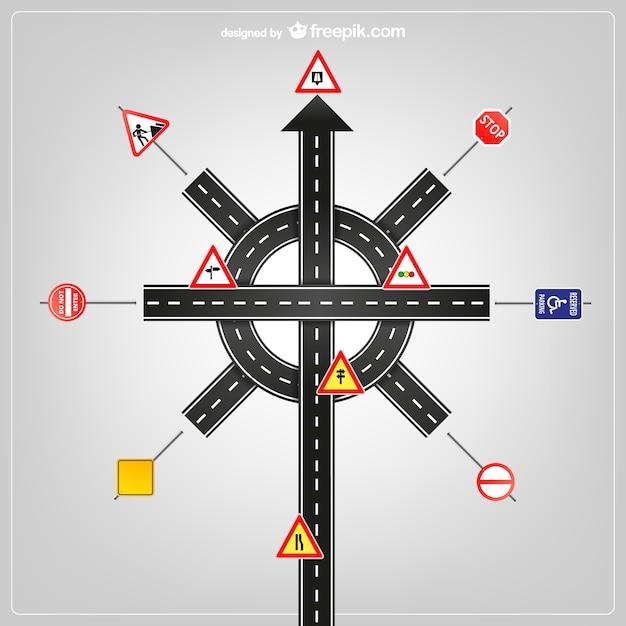 Modèle de signalisation routière vecteur Vecteur gratuit