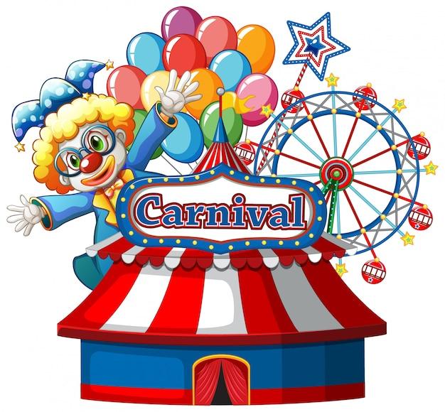Modèle De Signe De Carnaval Avec Clown Heureux Et Grande Roue En Arrière-plan Vecteur gratuit