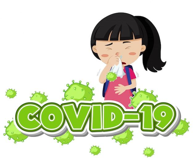 Modèle De Signe Covid 19 Avec Une Fille Malade Toussant Vecteur gratuit