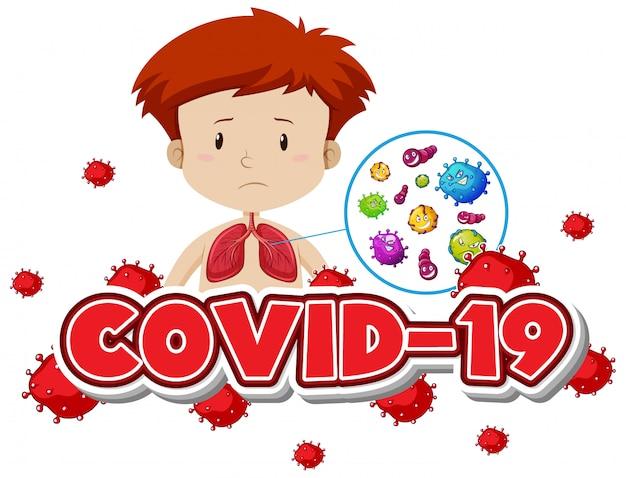 Modèle De Signe Covid 19 Avec Garçon Et Mauvais Poumons Vecteur gratuit