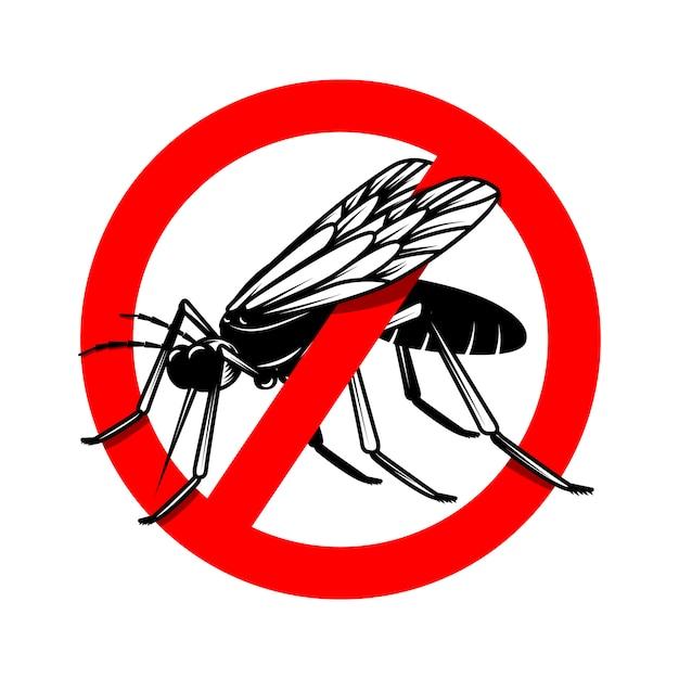 Modèle De Signe De Danger De Moustique. élément Pour Affiche, Carte, Emblème, Logo. Illustration Vecteur Premium