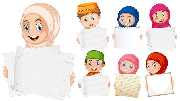 Modèle De Signe Vierge Avec Des Enfants Heureux Sur Fond Blanc Vecteur gratuit