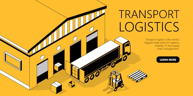 Modèle De Site Isométrique 3d - Logistique De Transport Vecteur gratuit