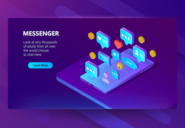 Modèle de site pour messenger adulte, chat Vecteur gratuit