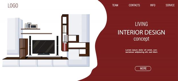 Modèle De Site De Salon Moderne Avec Grande Télévision Et étagères Pour Livres Et Cadres Photo Vecteur Premium